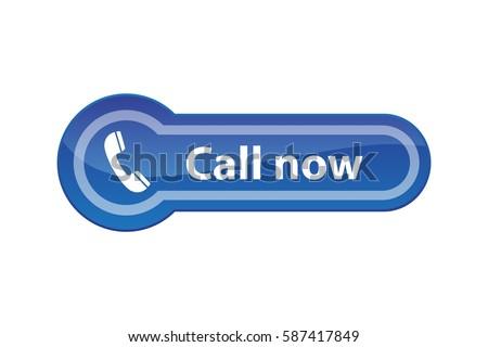 Call Now - blue web button, vector