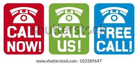 call now label, call us label, free call label (phone icon set, phone icons)