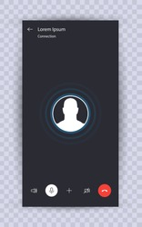 Call screen template. Mobile template, mockup. UI,UX,Kit interface. Call screen smartphone. Vector illustration eps10