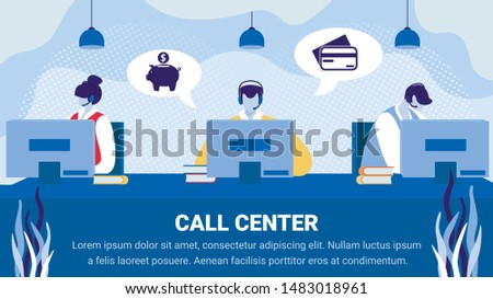 Call Service Banner, Staff in Headset Working on Computers Help Customers, Operator Client Communication, Specialists Solve Clients Problems Online, Technical Support. Cartoon Flat Vector Illustration