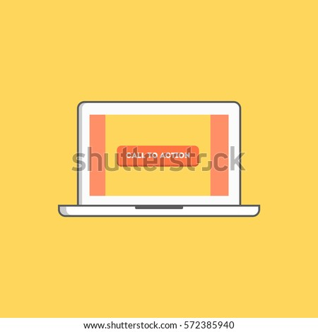 call to action button on a web accessed with a laptop