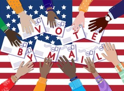 Call to vote by mail at United States Presidential Election 2020. Diverse skin colors hands hold envelopes with ballot applications. Top view USA flag. Postal service or polling workers. Vector banner