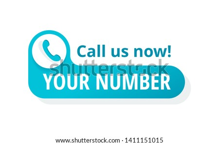 Call us button  - template for phone number place in website header  - conspicuous sticker with phone headset pictogram