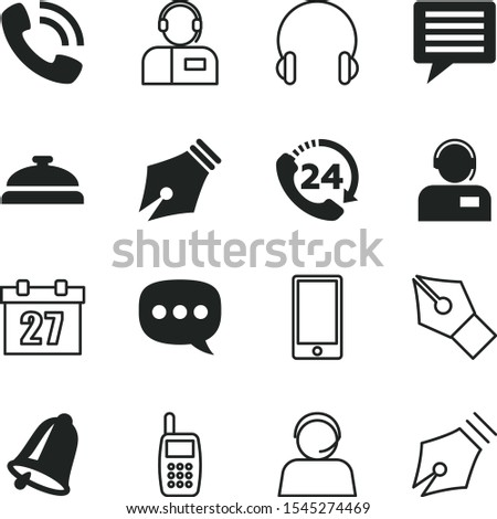 call vector icon set such as: telemarketing, desktop calendar, daily routine, commerce, action, lobby, element, earphone, communicator, speak, alert, set, wireless, doorbell, daily schedule, agent