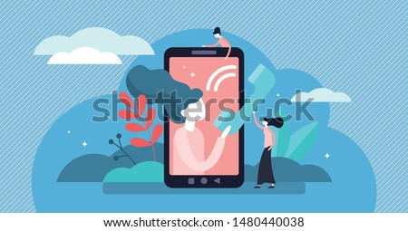 Call vector illustration. Flat tiny cellphone communication persons concept. Modern technology for voice message, and conversation service. Symbolic telemarketing, operator and consultant equipment.