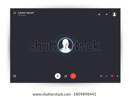 Call Window App template. Video chat user interface. Mockup UI, UX, KIT. Call screen template, video calls window overlay. Application for calls and video communications on PC. Vector illustration