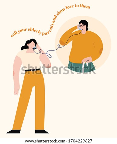 Call your elderly family and parents. Show tell some love and gratitude. Young girl calling her grandmother to see if she's okay. Telephone, talk, interaction during Covid 19. Corona Virus. SARS-CoV-2