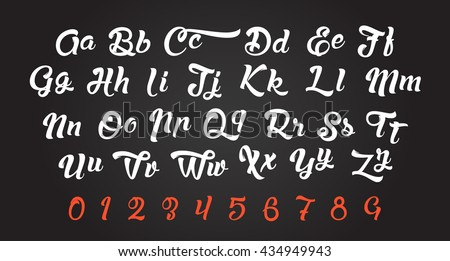 Calligraphic alphabet. Vector letters and numbers. Hand drawn typeface. Font illustration