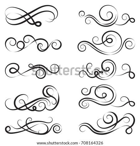Calligraphic black and elegant swirls collection. Set of curls and scrolls for wall decoration, page decoration, greeting cards and tattoos. Vector calligraphic design elements illustration.