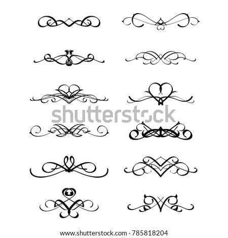 calligraphic border divider frame design element in classic vintage calligraphy style for wedding or greeting new