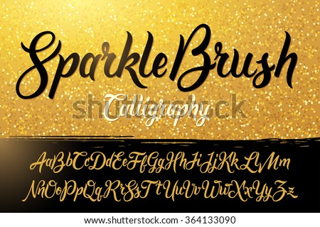 Calligraphic brushpen font with golden sparkles background
