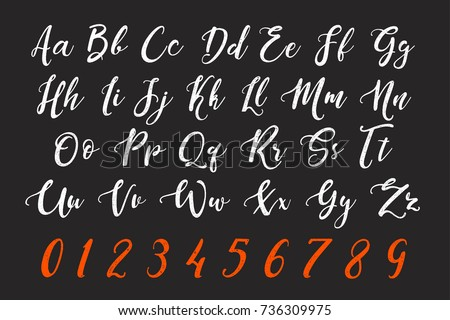 Calligraphic chalk letter design. vector hand drawn alphabet and numbers. calligraphic typeface