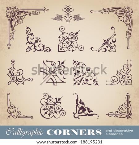 Calligraphic corners and decorative elements
