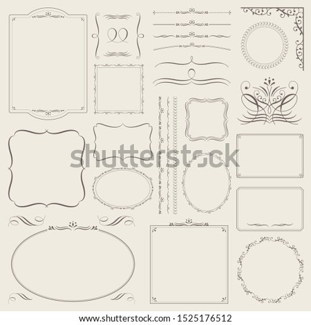 calligraphic decorative borders and decorative borders Set