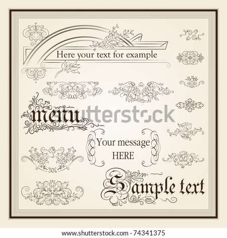 calligraphic design elements and page decoration - lots of useful elements to embellish your layout, detailed antique and baroque frames