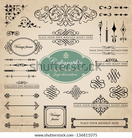 Calligraphic design elements and page decoration set 5