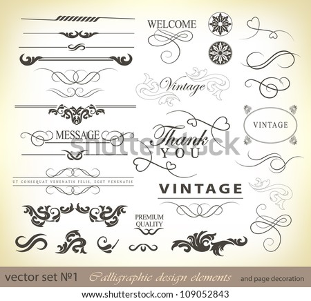 calligraphic design elements and page decoration/ vector set: