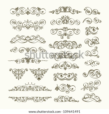 Calligraphic design elements and page decoration. Vintage element. Borders set for ornate. Vector illustration