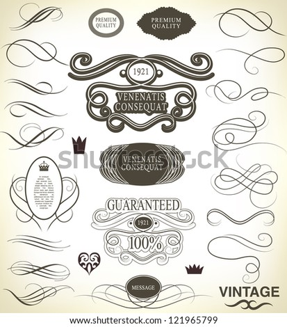 calligraphic design elements and page decoration with ribbon/ vector set