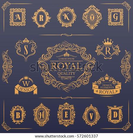 Calligraphic design elements collection, vector illustration, includes frames, page decoration,vintage floral elements