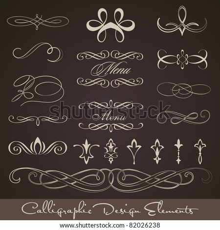 Calligraphic design elements - dark background - stock vector