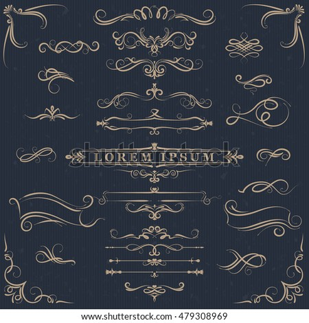 Calligraphic Design Elements . Decorative Swirls,Scrolls and Dividers, Vector illustration in flat, vintage style isolated from the background, EPS 10