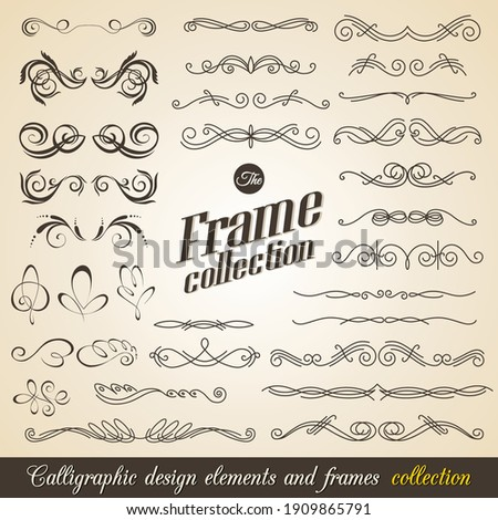 Calligraphic design elements. Elegant collection of hand drawn swirls for your design. Page decorations. Swirl, scroll and flourishes dividers. Set of text delimiters. Premium quality Foto stock ©