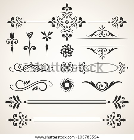 Calligraphic design elements. Elements for page decoration.