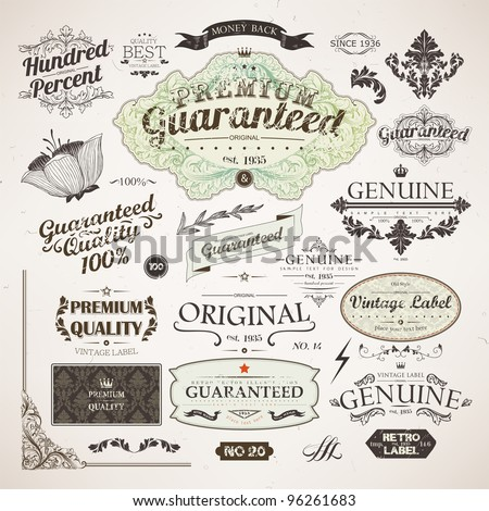 Calligraphic design elements, flowers and retro frames, Premium Quality and Satisfaction Guarantee vintage design Labels. Old style set, vector collection.