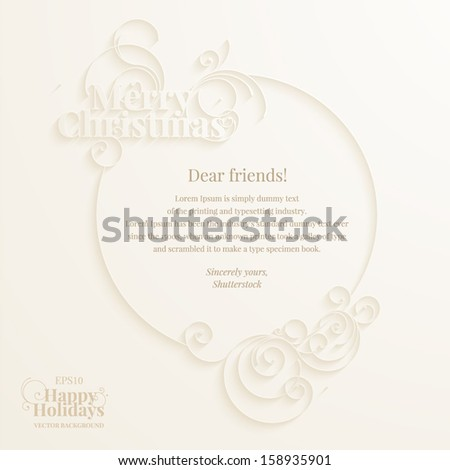Calligraphic design elements on the cream background for the Christmas greeting message design