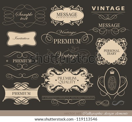 calligraphic design elements, page decoration and label/ vector set
