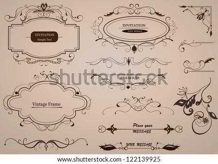 Calligraphic design elements, page decoration / vector set