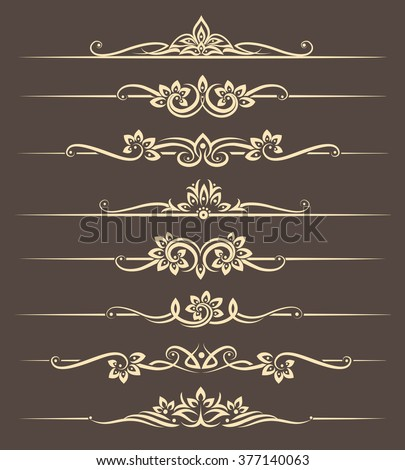 Calligraphic design elements, page dividers with thai ornament. Vector illustration