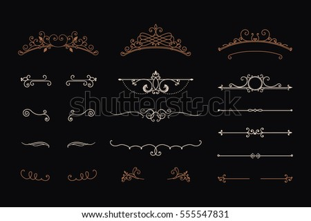 Calligraphic design elements. Set of headers and swirls. Vintage frames and borders