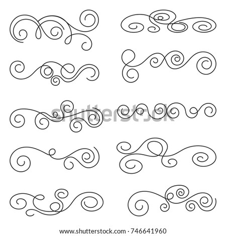 Calligraphic design elements. Thin line set of curls and scrolls for wall decoration, books, cards and tattoos. Swirls Vector Illustration.