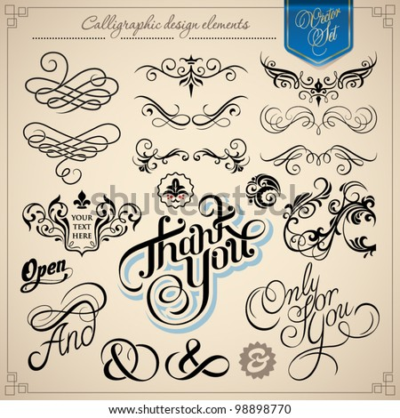 calligraphic design elements - vector set - stock vector