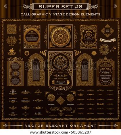Calligraphic Design logo set. Vintage crest Gold elements. Vector flourishes illustration. Border frame collection royal ornament page divider, menu card, invitations, labels, Restaurant, Cafe, Hotel
