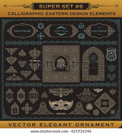 stock-vector-calligraphic-design-vintage-gold-elements-vector-flourishes-illustration-logo-set-border-frame