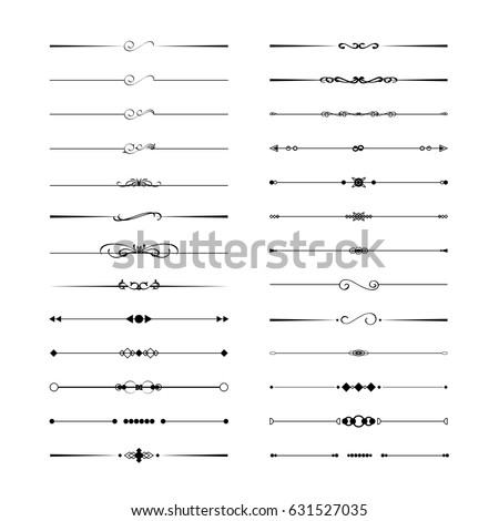 Calligraphic divider geometric design element set