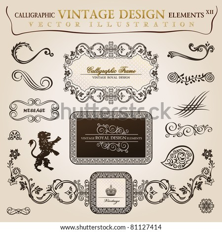 Calligraphic elements vintage heraldic. Vector frame decor illustration - stock vector