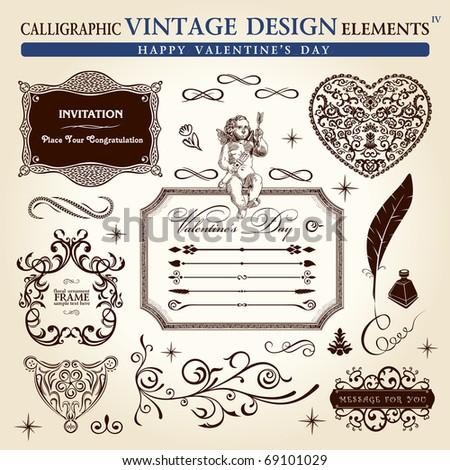 calligraphic elements vintage ornament set. Happy valentine day vector