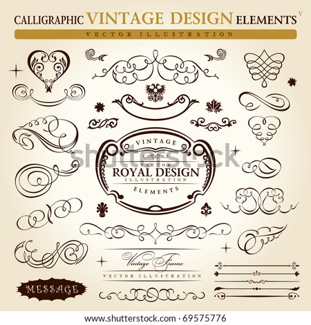 calligraphic elements vintage ornament set. Vector frame ornament decor