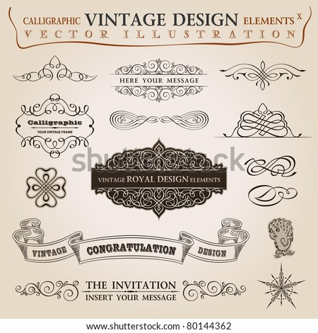 Calligraphic elements vintage set Congratulation ribbon Vector frame ornament