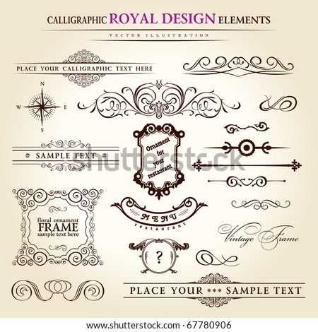calligraphic elements vintage set. Hand-drawn retro written feather vector