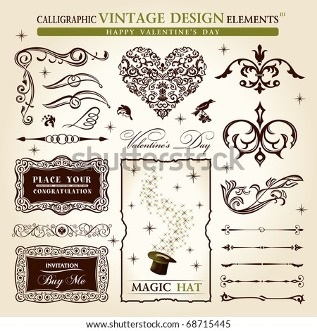 calligraphic elements vintage vector set. Happy valentine day decor