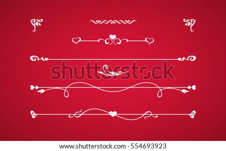 Calligraphic elements with hearts isolated on red background. Vintage dividers, border with roses, flowers, love symbols. Vector card. Invitation to the celebration of wedding or Saint Valentines Day