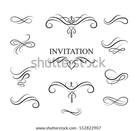 Calligraphic flourish design elements. Page decoration vignette set in retro style. Elegant vintage borders and dividers for greeting card, retro party, wedding invitation.