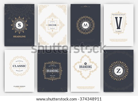 Calligraphic Flyer Design Template Set - Classic Ornamental Style - Elegant luxury frames with typography - Ideal logo for restaurant, hotel, cafe or other businesses with classic corporate identity
