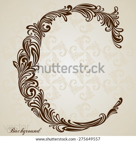 Calligraphic font vintage initials letter c vector design background