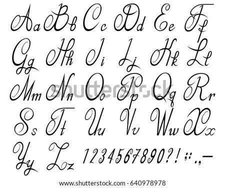 Calligraphic font with numbers. Calligraphic alphabet. Vector illustration.